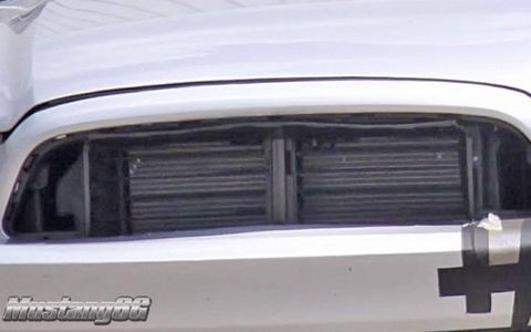 The alleged front-mount intercooler on the 2015 Ford Mustang test mule.