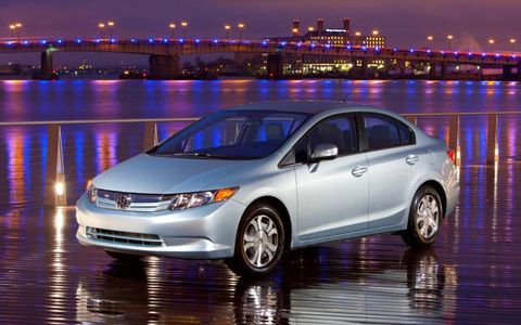 The Civic Hybrid wears the same sporty styling as the conventional models in the Civic range.