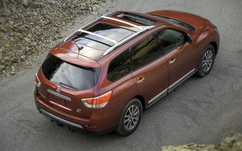 A rear view of the 2013 Nissan Pathfinder.