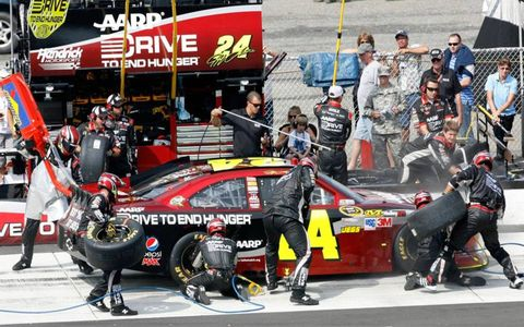 Hendrick Racing gave winner Jeff Gordon plenty of support on Sunday at Pocono.