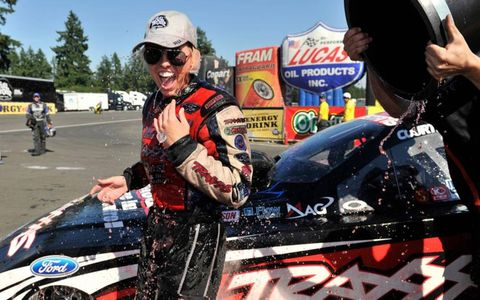 Courtney Force is on the other end of a cold bucket of ice water after the rookie scored her first Funny Car win Sunday.