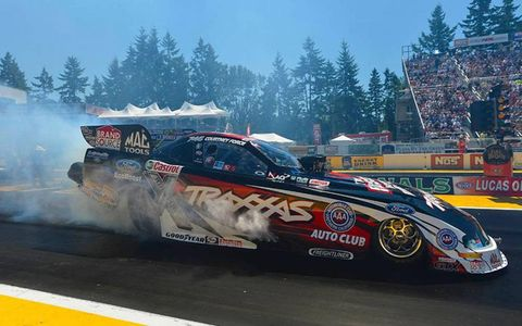 Courtney Force in action this weekend at Pacific Raceways in Seattle, Wash.