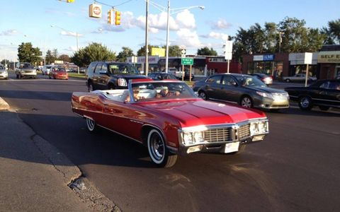 Perfect weather and day to show off  this Buick Electra convertible.