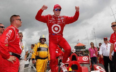 Scott Dixon celebrates his fourth win at Mid-Ohio.