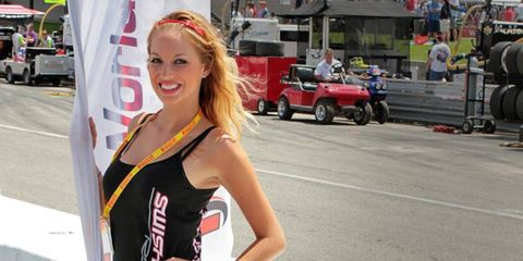 A grid girl at Mid-Ohio was part of the pre-race scene.