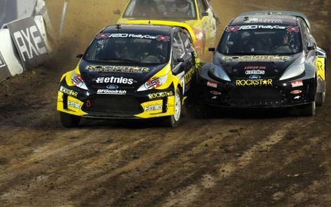 31 July 2010, Los Angeles, California USA Tanner Foust leads Brian Deegan and Stephan Verdier into the first turn during the Super Rally final. &Copy;2010, Paul Webb, USA LAT Photographic