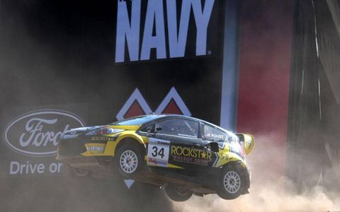 31 July 2010, Los Angeles, California USA Tanner Foust on his way to winning the gold medal in the Rally Car racing event. &Copy;2010, Paul Webb, USA LAT Photographic