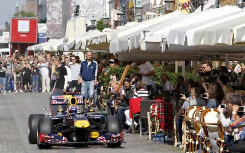 David Coulthard runs his Formula One in a demonstration run at the Red Bull Show in Copenhagen.