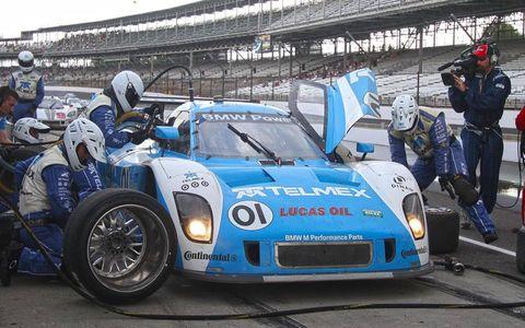 2012 Brickyard Grand Prix: The #01 BMW Riley of Scot Pruett and Memo Rojas makes a pit stop.