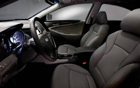 The interior of the 2013 Hyundai Sonata Hybrid Limited is comfortable and elegant.