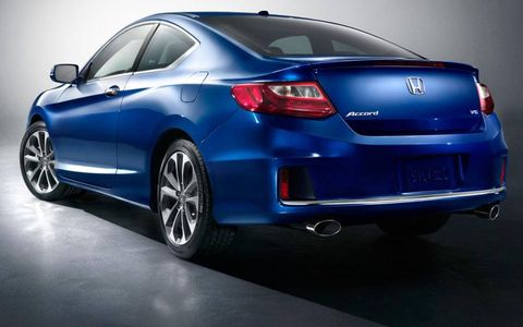 A rear view of the 2013 Honda Accord coupe.