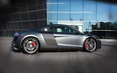 The 2012 Audi R8 V8 gets red calipers and carbon fiber sideblades.