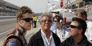 Mario Andretti at Indianapolis earlier this year with grandson Marco and son Michael.