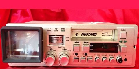 """Yes, in the middle 1980s you could get a DIN-sized cassette deck with built-in 2"""" black-and-white television."""
