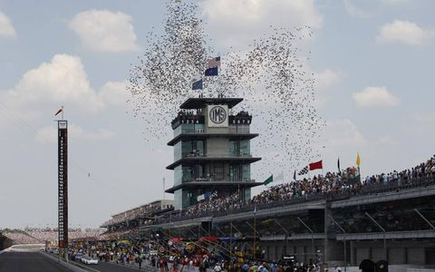 PARTY! // Confetti flies before the start of the Brickyard 400 at Indianapolis Motor Speedway on July 31.