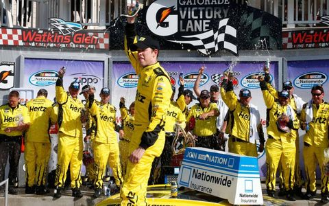 Brad Keselowski has yet to win on the NASCAR Cup side this season, but he's found victory lane four straight times in Nationwide.