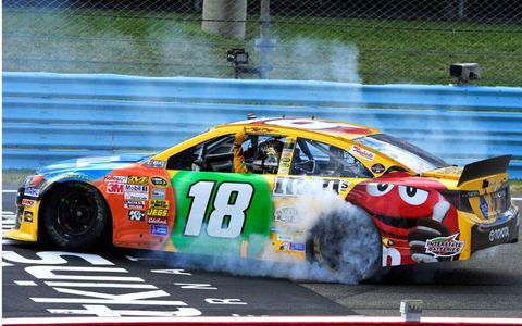 Kyle Busch celebrated his third NASCAR Sprint Cup Series win of the year with a burnout at Watkins Glen.