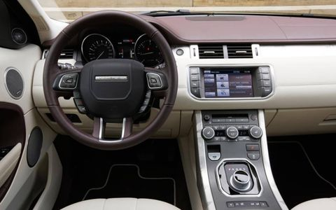 The cockpit of the Range Rover Evoque.