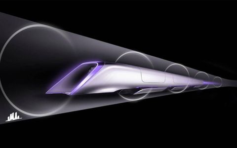 The Hyperloop pod racing through its tunnel at near-sonic speed, suspended on air, powered by electricity.