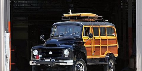 An imposing 1954 International Harvester 4x4 woodie is one of the lot's we're going to be watching closely.