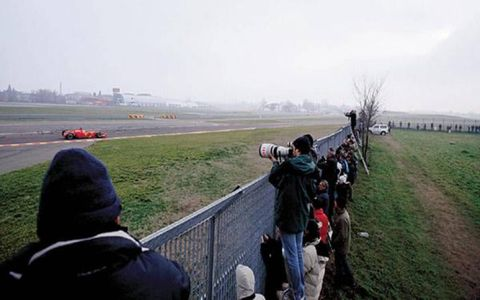 A row of cameras capture Felipe Massa's test runs.