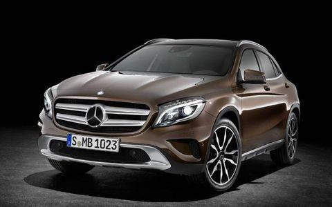 Front drivers three-quarters shot of the 2015 Mercedes-Benz GLA