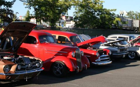 Muscle all in a row during Hot August Nights in Reno.