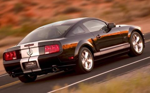 Like the GT-H, the Shelby GT is equipped with a Ford Racing Power Pack, including a cold-air intake and high-flow exhaust, that punches up power from the 4.6-liter V8 by 25 hp and 20 lb-ft of torque to 325 hp and 330 lb-ft. The GT also gets the same Ford Racing Handling Pack used on the GT-H, with a strut tower brace, bigger antiroll bars, lowered springs that are 65-percent stiffer, and race-bred shocks. The suspension package lowers the car by 1.5 inches.
