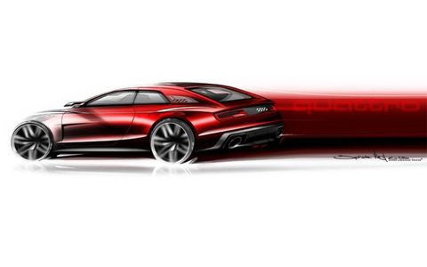 Exterior sketch of the Audi Quattro concept.