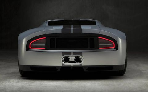 The lighting was done by Metalcrafters. The GTR1 is five inches wider than the Ford GT.