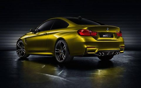 A rear three-quarter shot of the BMW M4 coupe concept which will be presented Pebble Beach Concours