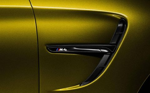 The side emblem on the BMW M4 coupe concept which will be presented Pebble Beach Concours