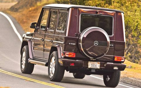 A rear view of the Mercedes-Benz G550