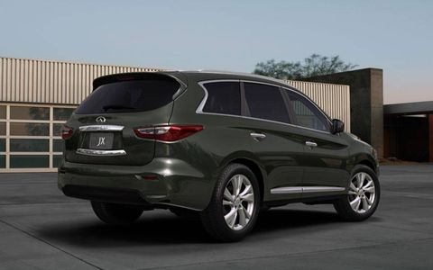 A three-row crossover, the new Infiniti JX uses styling elements to hide some of its bulk.