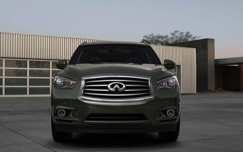 The Infiniti JX crossover borrows some of the company's styling cues from the larger QX56 SUV.