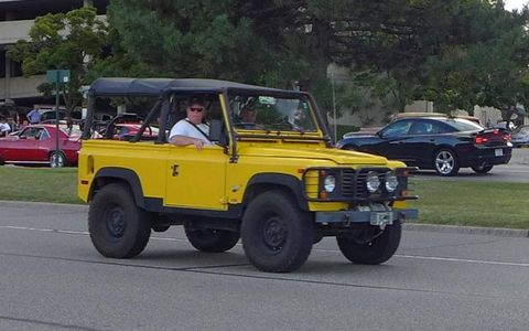 Crushin' Woodward pavement in a Land Rover Defender 90.
