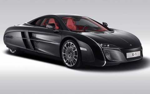 A view of the McLaren X-1 concept from the front three-quarters angle.