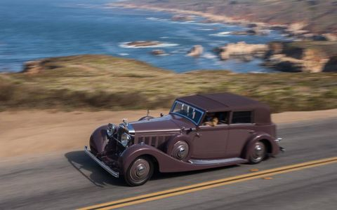 1935 Hispano Suiza J12 de Villars Cabriolet participating in the 2012 Pebble Beach Tour.