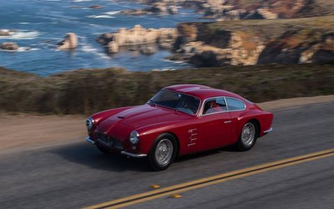 1956 Maserati A6G 2000 Zagato Coupe participating in the 2012 Pebble Beach Tour.