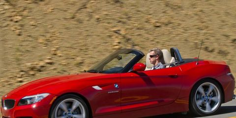 The BMW Z4 hugs the curves.