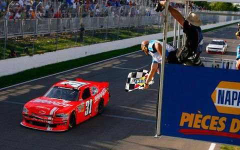 Justin Allgaier took the checkered flag at Montreal on Saturday.