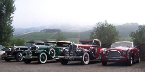 From left to right: Rolls-Royce, Packard Twelve, Pierce Arrow and a lovely Chrysler Ghia show car. Backdrop courtesy Napa Valley.