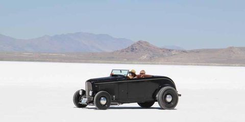 Ford roadster cruising the pits at Speed Week 2013, Bonneville Salt Flats.