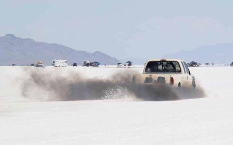 1,000-horsepower diesel Dodge Ram leaving the starting line at Bonneville Speed Week 2013.
