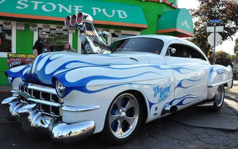 "The 1949 Cadillac Deville ""ShBoom Gone Wild"" parked along Woodward on Friday afternoon"