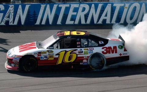 Greg Biffle celebrates his 18th career Sprint Cup Series victory on Sunday.