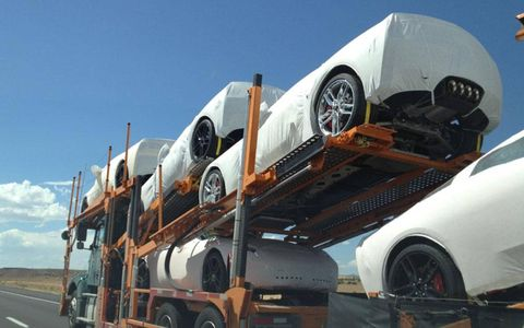 A trailer full of 2014 Corvette Stingray coupes spotted outside of Albuquerque.