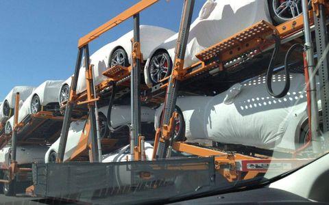 A trailer full of new Corvette Stingrays spotted outside of Albuquerque.