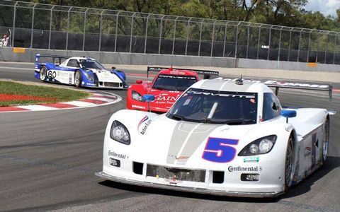 The Corvette of David Donohue and Paul Tracy races at Montreal on Saturday.