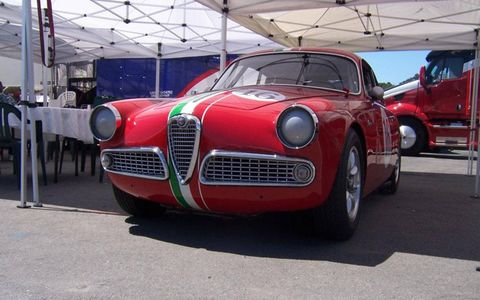 Alfa Romeo was well-represented at the Monterey Historics, as well it should be. Giulia is smiling at us here.